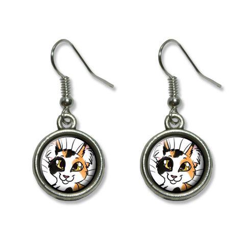Calico Cat - Pet Dangling Drop Earrings
