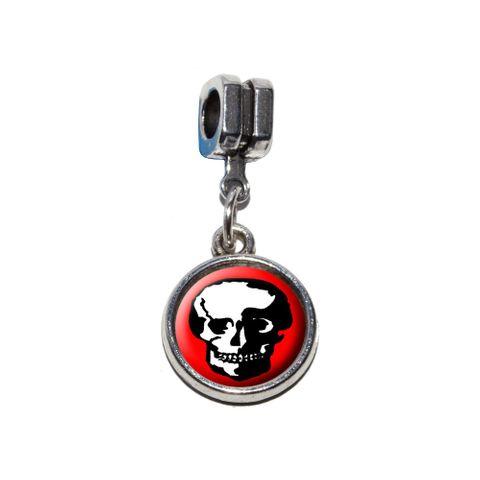 Skull Skeleton on Red European Style Bracelet Charm
