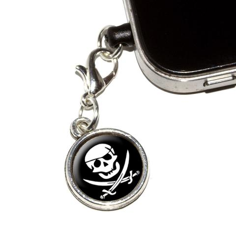 Pirate Skull Crossed Swords - Jolly Roger Mobile Phone Charm