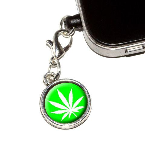 Marijuana Pot Weed Leaf - Green Mobile Phone Charm