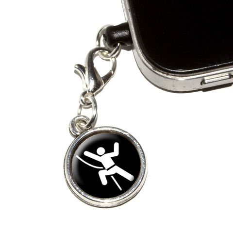 Rock Climbing Repelling Belay Mobile Phone Charm