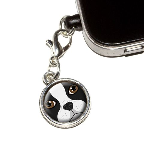 Boston Terrier Face - Dog Pet Mobile Phone Charm