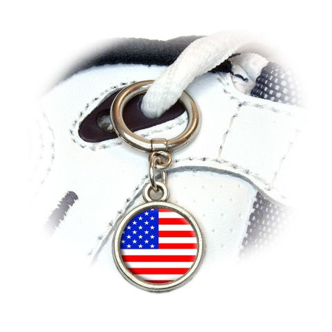 American USA Flag - Patriotic Round Dangle Shoe Charm