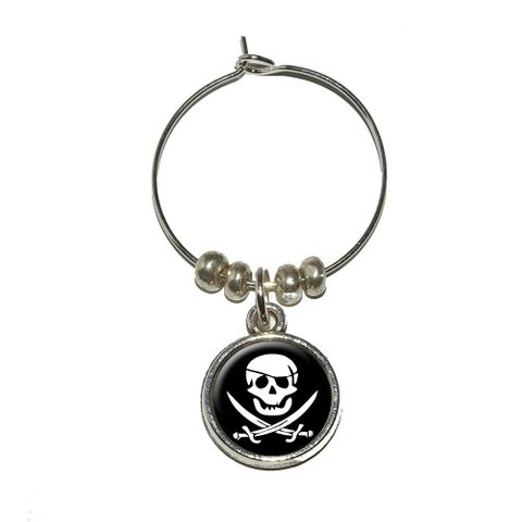 Pirate Skull Crossed Swords - Jolly Roger Wine Glass Charm