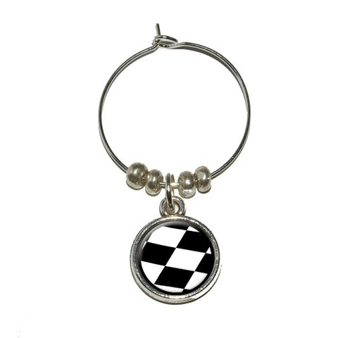 Checkered Flag - Racing Wine Glass Charm