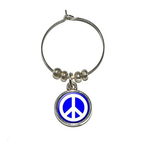 Peace Sign Symbol - Blue Wine Glass Charm