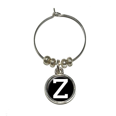 Letter Z Initial Black White Wine Glass Charm