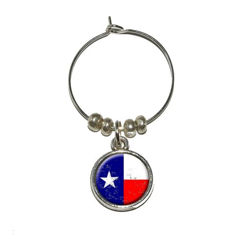 Texas Flag Distressed Wine Glass Charm