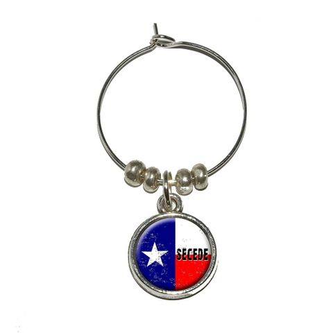 SECEDE - Texas Flag Distressed Wine Glass Charm