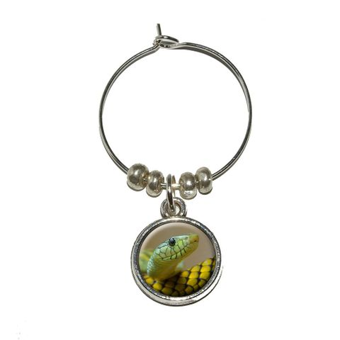 Green Snake Wine Glass Charm - No. 1