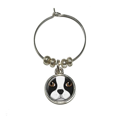 Boston Terrier Face - Dog Pet Wine Glass Charm