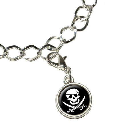 Pirate Skull Crossed Swords - Jolly Roger Bracelet Charm