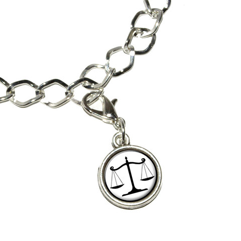 Balanced Scales of Justice Symbol Legal Lawyer White and Black Bracelet Charm