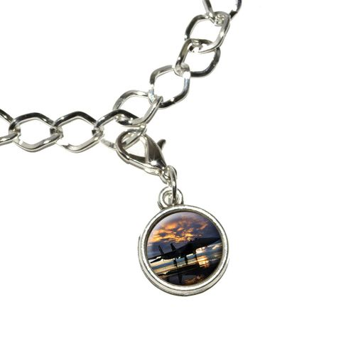 Aircraft Jet Fighter at Sunset - Air Force Bracelet Charm