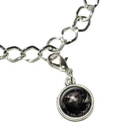 Hawk on Black and White - Raptor Avian Bracelet Charm