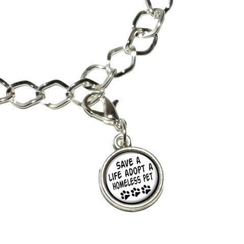 Save a Life Adopt a Homeless Pet - Dog Cat Adoption Bracelet Charm