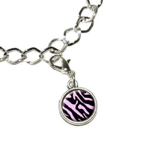 Zebra Print Black Light Pink Bracelet Charm