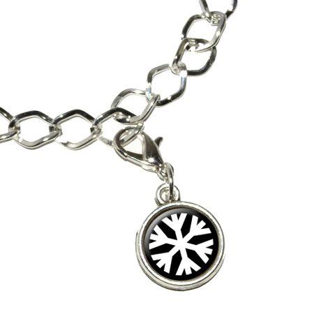Snowflake - Low Temperature Symbol - White on Black Bracelet Charm