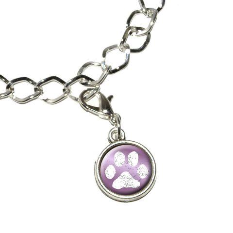 Paw Print Distressed Purple Bracelet Charm