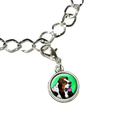 Basset Hound Green Bracelet Charm