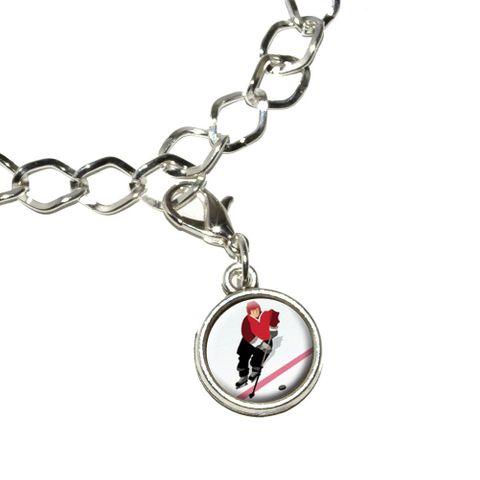 Ice Hockey Player Red Jersey Bracelet Charm