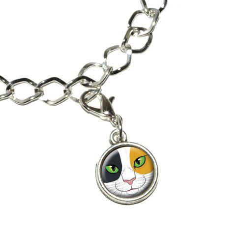 Calico Cat Face - Pet Kitty Bracelet Charm