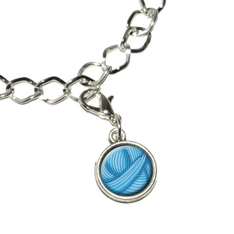 Blue Yarn Ball - Crochet Bracelet Charm
