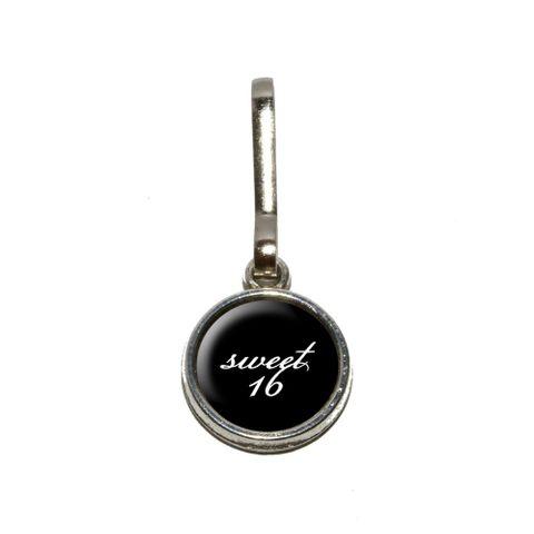 Sweet 16 Sixteen Birthday on Black Charm Zipper Pull