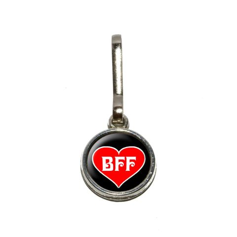 BFF - Best Friends Forever - Red Heart Charm Zipper Pull