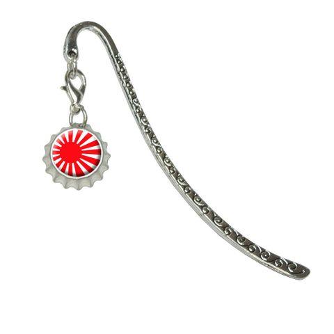 Japan Japanese Flag Rising SunMetal Bookmark with Bottlecap Charm