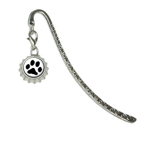 Paw Print - Pet Dog CatMetal Bookmark with Bottlecap Charm