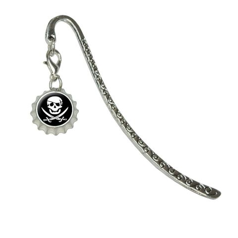 Pirate Skull Crossed Swords - Jolly RogerMetal Bookmark with Bottlecap Charm