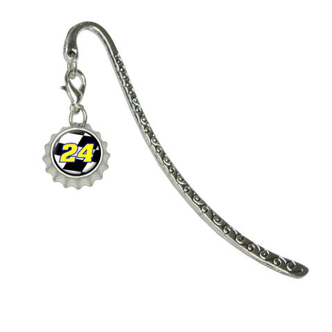 Number 24 Checkered Flag - RacingMetal Bookmark with Bottlecap Charm