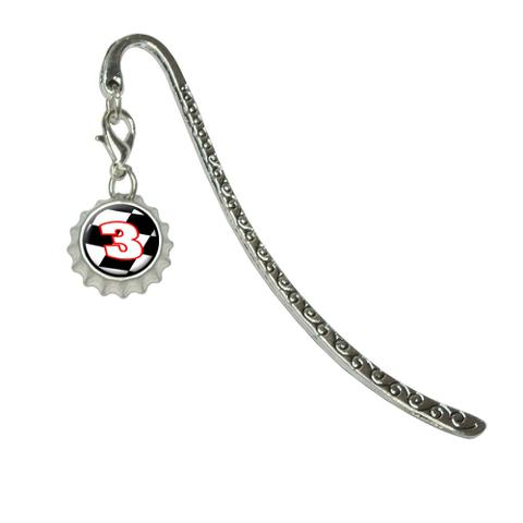Number 3 Checkered Flag - RacingMetal Bookmark with Bottlecap Charm