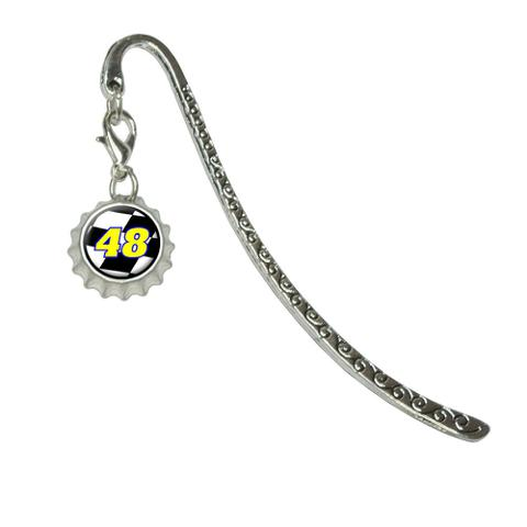 Number 48 Checkered Flag - RacingMetal Bookmark with Bottlecap Charm