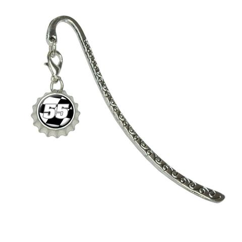 Number 55 Checkered Flag - RacingMetal Bookmark with Bottlecap Charm
