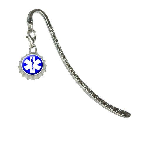 Star of Life - Medical Health EMT RN MDMetal Bookmark with Bottlecap Charm
