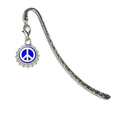 Peace Sign Symbol - BlueMetal Bookmark with Bottlecap Charm