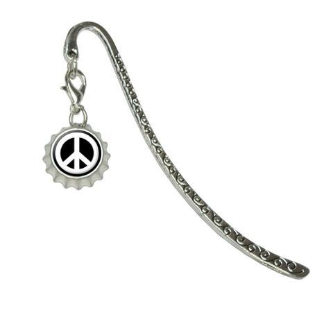 Peace Sign Symbol - BlackMetal Bookmark with Bottlecap Charm