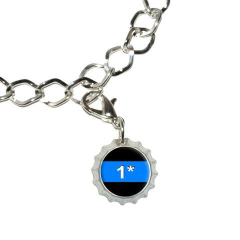 Thin Blue Line 1 One Asterisk - Police Policemen Bottlecap Charm
