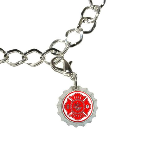 Fire and Rescue Maltese Cross - Red Bottlecap Charm