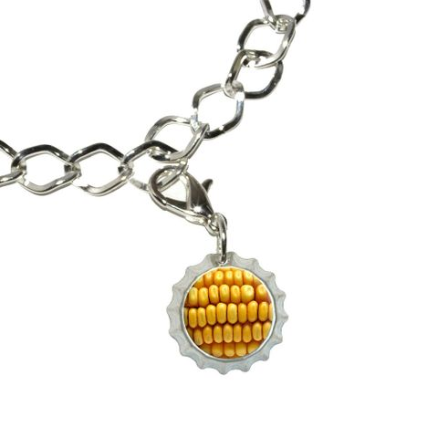Corn on the Cob Kernels Bottlecap Charm