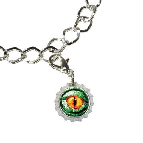 Lizard Yellow Eye Green Scales Bottlecap Charm