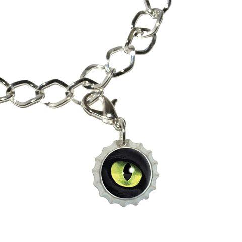 Cat Green Eye Bottlecap Charm