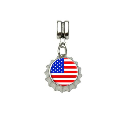 American USA Flag - Patriotic European Style Bracelet Bottlecap Charm