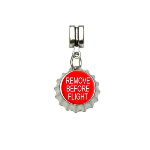 Remove Before Flight - Airplane Warning European Style Bracelet Bottlecap Charm