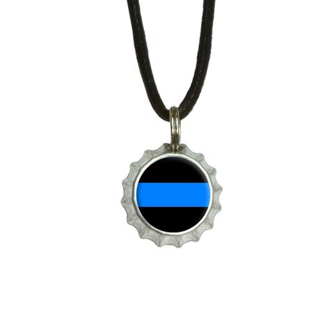 Thin Blue Line Bottlecap Small Pendant