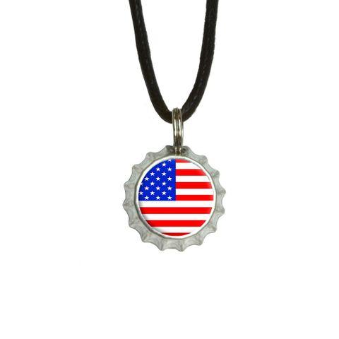 American USA Flag - Patriotic Bottlecap Small Pendant