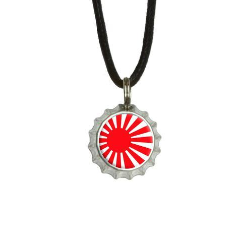 Japan Japanese Flag Rising Sun Bottlecap Small Pendant