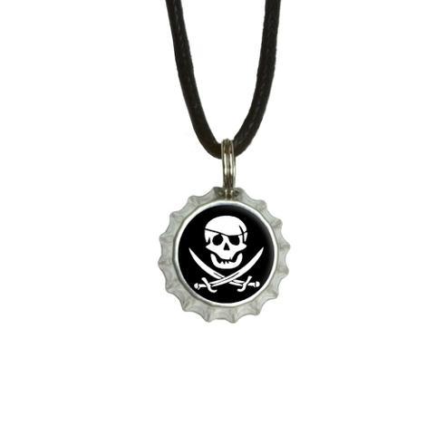 Pirate Skull Crossed Swords - Jolly Roger Bottlecap Small Pendant